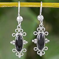 Jade dangle earrings, 'Mayan Kingdom' - Ornate Silver Dangle Earrings with Black Guatemalan Jade