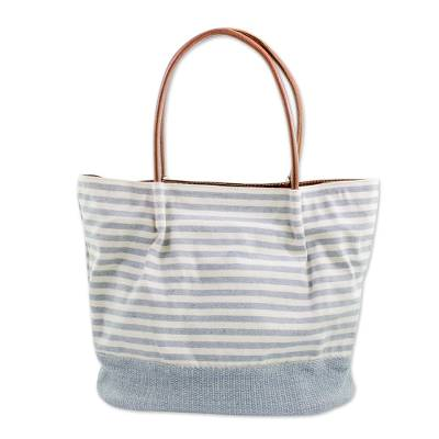 Leather accent cotton tote handbag, 'Bright Sea' - Leather Accent Striped Handwoven Cotton Tote Handbag