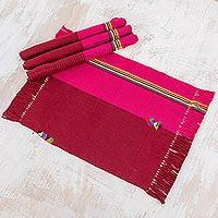 Cotton placemats, 'Shared Love' (set of 4) - Cotton Placemats in Claret and Cerise (Set of 4) Guatemala
