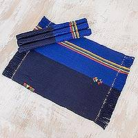 Cotton placemats, 'Lapis Dreams' (set of 4) - Cotton Placemats in Midnight and Lapis (Set of 4) Guatemala