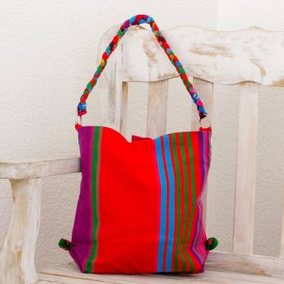 Cotton tote handbag, 'Colorful Happiness in Red' - Woven Colorful Tote Handbag from Guatemala