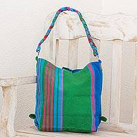Cotton tote handbag, 'Colorful Happiness in Green' - Woven Multicolor Cotton Tote Handbag from Guatemala