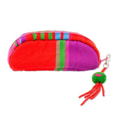Striped Woven Multicolor Cotton Cosmetic Bag from Guatemala