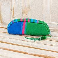 Cotton cosmetic bag, 'Happy Days in Green' - Woven Multicolor Cotton Cosmetic Bag from Guatemala