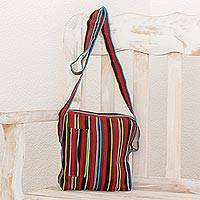 Cotton shoulder bag, 'Life in Color' - Colorful Striped Woven Shoulder Bag from Guatemala