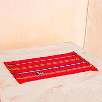 Cotton placemats, 'Candy Apple Songs' (set of 4) - Cotton Placemats in Candy Apple (Set of 4) from Guatemala