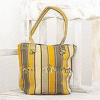 Cotton shoulder bag, 'Cornfield' - Yellow Striped Woven Shoulder Bag from Guatemala