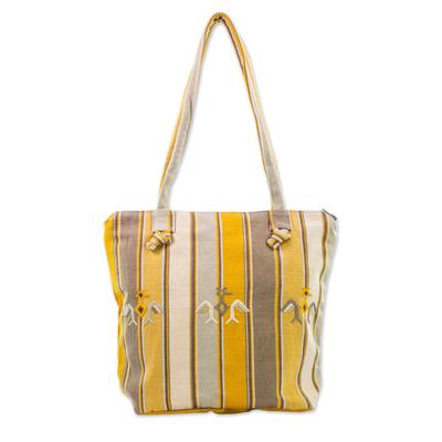 Novica Cotton shoulder bag, Cornfield