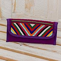 Cotton wallet, 'Rainbow Volcanoes in Aubergine' - Hand Woven Guatemalan Aubergine Cotton Wallet and Coin Purse