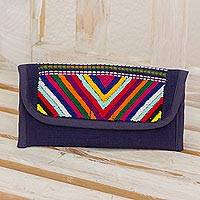 Cotton wallet, 'Rainbow Volcanoes in Midnight Blue' - Hand Woven Guatemalan Navy Blue Cotton Wallet and Coin Purse