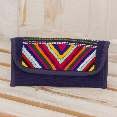 b29709c035fc Hand Woven Guatemalan Navy Blue Cotton Wallet and Coin Purse, 'Rainbow  Volcanoes in Midnight'