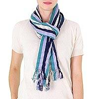 Cotton scarf, 'Crystal River' - Guatemalan Striped Scarf in Midnight Sea Green and Wisteria