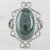 Jade cocktail ring, 'Smooth Winds' - Oval Green Jade Cocktail Ring from Guatemala