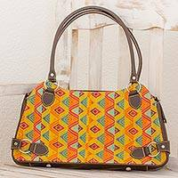 Leather accent cotton shoulder bag, 'Textile Tradition' - Guatemalan Cotton and Leather Multicolored Shoulder Handbag