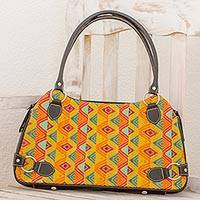 Leather accent cotton shoulder bag, 'Splendid Tradition' - Multicolor Cotton and Black Leather Shoulder Bag