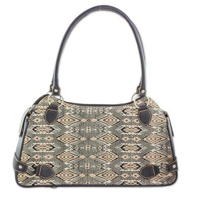Novica Cotton and leather accent shoulder handbag, Coal Black Kaleidoscope