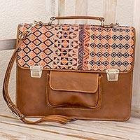 Leather and cotton laptop bag, 'Geometric Beauty' - Chestnut Leather and Cotton Laptop Bag from Guatemala