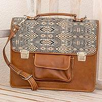 Leather and cotton laptop bag, 'Chestnut Kaleidoscope' - Hand Woven Cotton and Leather Laptop Bag from Guatemala