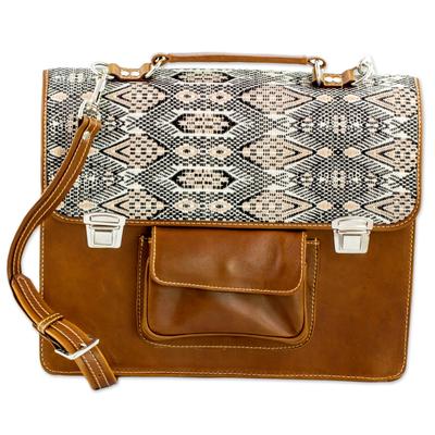 Novica Leather and cotton laptop bag, Chestnut Kaleidoscope