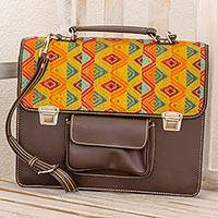 Leather and cotton laptop bag, 'Textile Tradition' - Espresso Leather and Multicolored Cotton Laptop Bag