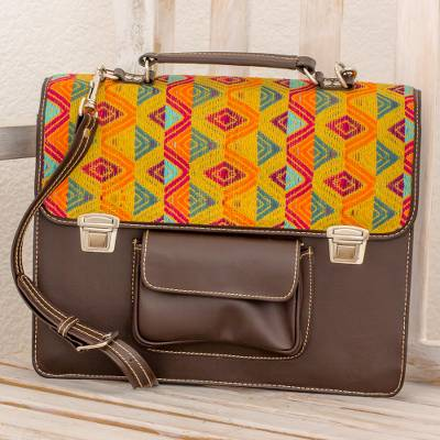 Leather and cotton laptop bag, Textile Tradition