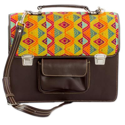 Espresso Leather and Multicolored Cotton Laptop Bag