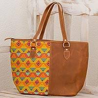 Leather and cotton tote handbag, 'Textile Splendor' - Hand Woven Cotton and Leather Tote Handbag Guatemala
