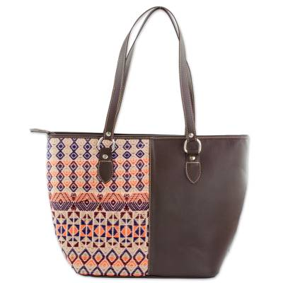 Novica Leather accent cotton shoulder bag, Garden Window