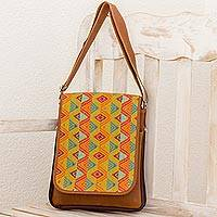 Leather and cotton messenger bag, 'Textile Splendor' - Leather and Handwoven Messenger Bag from Guatemala