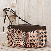 Leather accent cotton shoulder bag, 'Geometric Imagination' - Hand Woven Cotton Leather Accent Shoulder Bag