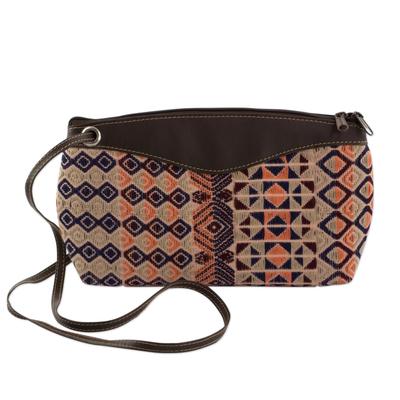 Novica Leather and cotton tote handbag, Geometric Imagination