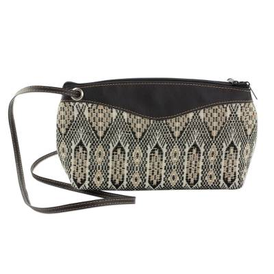 Novica Cotton and leather trim handle handbag, Coal Kaleidoscope