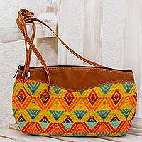 Leather accent cotton shoulder bag, 'Textile Splendor' - Chestnut Leather Accent Cotton Shoulder Bag from Guatemala