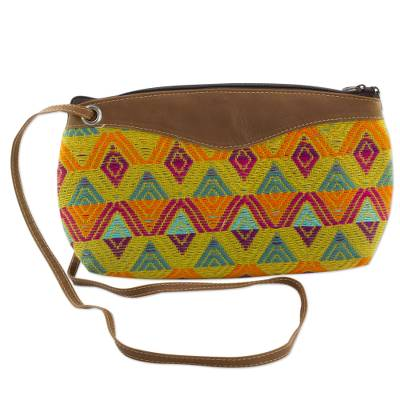 Chestnut Leather Accent Cotton Shoulder Bag from Guatemala