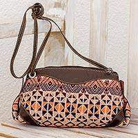 Leather accent cotton sling handbag, 'Geometric Imagination' - Espresso Leather Accent Cotton Sling Handbag from Guatemala