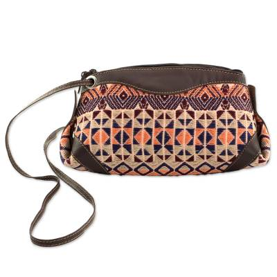 Novica Cotton and leather accent sling handbag, Geometric Imagination
