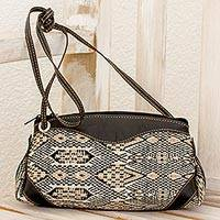 Leather accent cotton sling handbag, 'Tricolor Kaleidoscope' - Black Leather and Cotton Sling Handbag from Guatemala