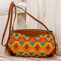 Leather accent cotton sling handbag, 'Textile Splendor' - Leather Accent Multicolored Cotton Sling Handbag Guatemala