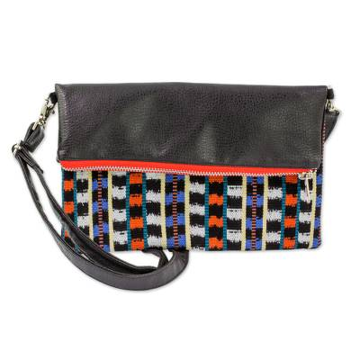 Black Leather Convertible Sling Bag with Handwoven Jaspe
