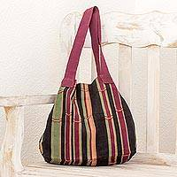 Cotton tote handbag, 'Fertile Land' - Hand Woven Striped Cotton Tote in Maroon and Black Guatemala