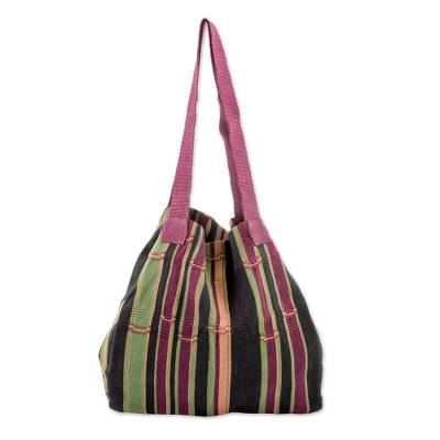 Hand Woven Striped Cotton Tote in Maroon and Black Guatemala