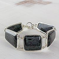 Jade link bracelet, 'Mayan Itzayana' - Dark Jade and Sterling Silver Link Bracelet from Guatemala