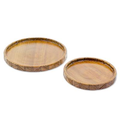 Hand Carved Conacaste Wood Trays (Pair) from Guatemala