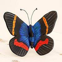 Ceramic sculpture 'Paradise Moth' - Colorful Handcrafted Ceramic Moth Sculpture from Guatemala