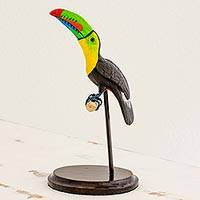 Ceramic and wood sculpture, 'Attentive Tucan' - Ceramic and Pine Sculpture of a Tucan from Guatemala