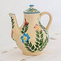 Ceramic coffee pot, 'Magic Maya Forest' (large) - Hancrafted Floral Ceramic Coffee Pot by Guatemalan Artisans