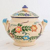 Ceramic tureen, 'Magic Maya Forest' - Handcrafted Floral Ceramic Tureen by Guatemalan Artisans