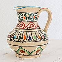 Ceramic pitcher, 'Traditional Refreshment' - Handcrafted Colorful Ceramic Pitcher by Guatemalan Artisans