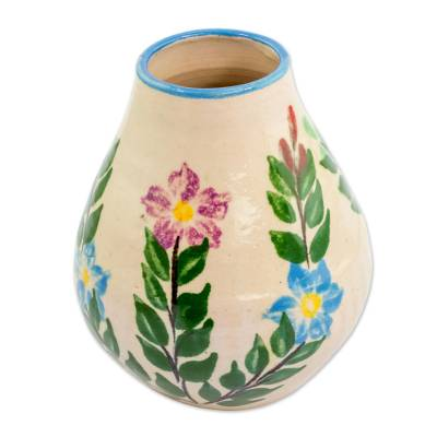 Hand Crafted Floral Ceramic Bud Vase From Guatemala Magic Maya
