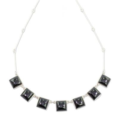 Jade pendant necklace, 'Mayan Eternity' - Handcrafted Silver and Dark Green Guatemalan Jade Necklace
